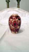 Bájos bordó virágos kézzel festett HANDGEMALT porcelán váza