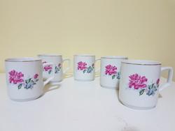 5 db rózsás retro porcelán bögre