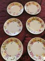 Zsolnay kék öttornyú kézzel festett pillangós süteményes tányér 6 db