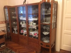 Antik topolyafa vitrines szekrény+íróasztal eladó