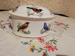 Eladó  porcelán madaras francia Lourioux le faune nagyobb méretű bonbonier vagy keksztartó!