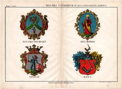 Megyei címerek I. (2), színes nyomat 1885, Magyar Lexikon, Rautmann Frigyes, megye, Nógrád, Pest