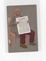 """Szép antik """"Az újság"""" reklám képeslap (posta tiszta)"""