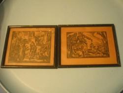 N8 Egyszer volt Budán kutya vásár ,és Miért 16,5x 14 cm Drahos keretben a  2 db kép