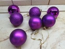 Retro, lila színű karácsonyfa dísz 7 db eladó!