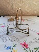 Eladó régi angol réz fűszertartó üveg betétel!