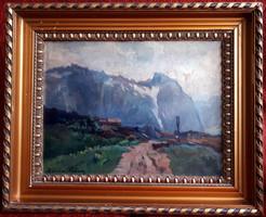 "Zórád Géza (1880 k. - 1960 k.) ""Hegyek alján"" 34x44cm, olaj/karton, művész jelezve balra lent"