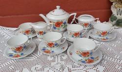 Ritka 6 személyes Zsolnay  Pipacsos manófüles Teáskészlet csésze, kanna készlet porcelán, nosztalgia