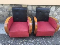 Art deco retro mid century fotel pár piros- fekete színben