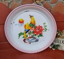 Gyönyörű Retro fém  50 cm átmérőjű madaras tálca,Gyűjtői ritka darab