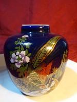 Japán porcelán tea tartó edény, kobalt kék, magassága 11 cm.