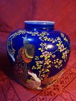 Japán porcelán tea tartó edény, magassága 11 cm. Kobalt kék alapon fácán mintával.