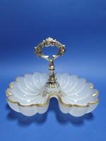 Biedermeier dupla üvegű kínáló ezüsttel