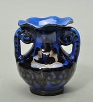 Hódmezővásárhelyi kobalt kék majolika kis váza, HMV Lázi,  1930-as évek.