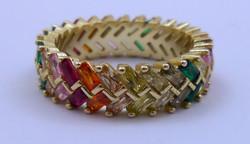 925-ös aranyozott ezüst gyűrű színes kő