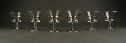 1C801 Régi aranyozott likőrös talpas üveg pohár készlet 6 darab