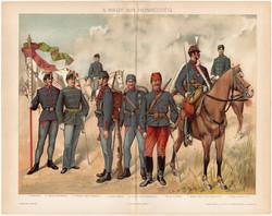 A magyar királyi honvédség, 1894, színes nyomat, eredeti, magyar, litográfia, honvéd, katona, huszár
