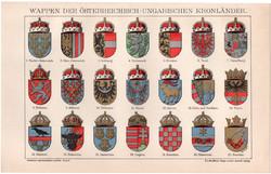 Osztrák - Magyar Monarchia címerei, litográfia 1893, színes nyomat, német, ország, állam, címer