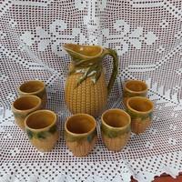 Retro kukoricás készlet, 8 kicsi  pohár + kancsó, paraszti dekoráció, nosztalgia darabok