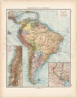 Dél - Amerika politikai térkép 1903, német nyelvű, atlasz, 44 x 56 cm, Moritz Perles, Andrees