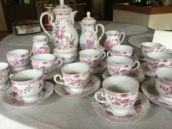 Volkstedt porcelán 12 személyes teás, kávés készlet
