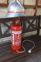 Ritka Ipari Vas Loft Retro  Tűzoltó sisak poroltó  asztali lámpa industrial vintage