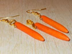 Narancs Korall ásvány Tüske Aranyozott Medál + Fülbevaló Ékszer Szett