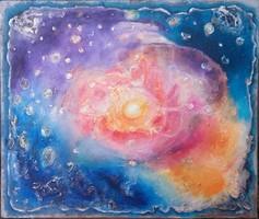 Egy csillag születése. 80x95 cm-es vászonkép, porcelánnal. Károlyfi Zsófia Prima díjas alkotó műve.