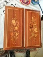 2 db csodás színes intarziás falikép kép