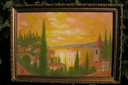 "Horváth József (1962 - 2019) olajfestmény!  ""Toscana!"" 40×50 cm"