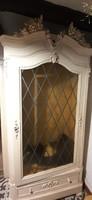 Szecesszios törtfehér ,olomüveges ruhásszekrény 112x55x220cm magas