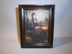 Szinyei Merse Pál: Lilaruhás nő festményének másolata fa keretben D_02