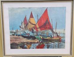 Ismeretlen művész - Vitorlások a kikötőben