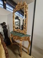 Barokk stílusú aranyozott tükörkonzol