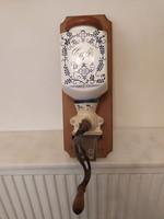 Antik konyhai eszköz porcelán falra szerelhető delfti mintás kávé daráló