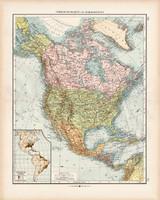 Észak - Amerika politikai térkép 1902, német nyelvű, atlasz, 44 x 56 cm, Moritz Perles, Andrees
