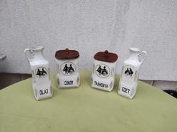 Fűszeres, olaj,ecet,cukor tarhonya tartó porcelán fűszertartó készlet.