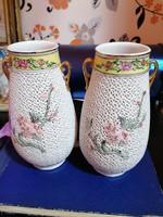 Páros áttört kínai váza, szárazvirágoknak.