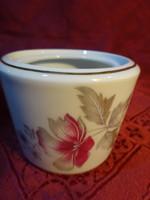 Alföldi porcelán cukortartó, lila virággal, tető nélkül.