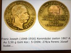Ferenc József arany koronázási zseton.1867.