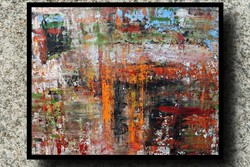 """Orange waterfall"" koso painting, huge 80 x 105 cm, framed action"