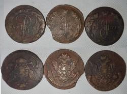 II. Nagy Katalin idejéből származó érmék (1769, 1770, 1771).lott
