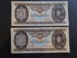 50 Forint 1986 Ef,sorszámkövető pár,  középen függőlegesen 1 hajtás./2.
