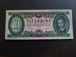10 Forint 1969 Ef, a bankjegyen keresztbe vízszintesen hajtásnyom.