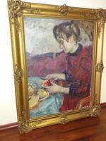 Balogh András. Almát pucoló nő című festménye eladó.