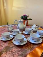 Zsolnay barokk tollazott szórt virágos 5 tornyú kávés készlet