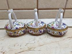 Porcelán bonbonier, kosár 3 db  eladó!