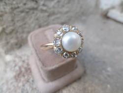 Gyöngyös - brilles antik arany gyűrű