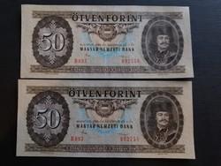 50 Forint 1986 Ef,sorszámközeli pár,  középen függőlegesen 1 hajtás.