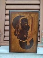 Art Deco stílusú fadoboz kulccsal zárható  intarzia berakàs női fej;egyedi darab.kàrtya doboz stb